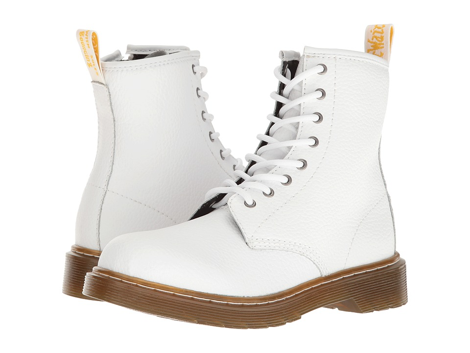 Dr. Martens Kid's Collection - Delaney PBL Lace Boot (Big Kid) (White Pebble Lamper) Kids Shoes