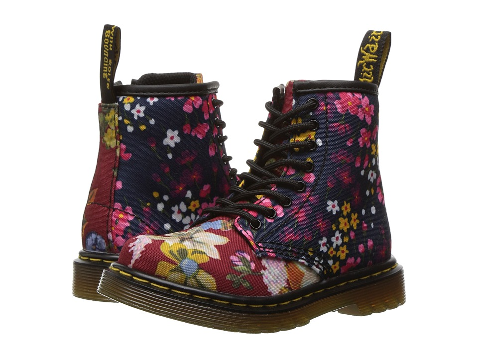 Dr. Martens Kid's Collection - Brooklee FC Lace Boot (Toddler) (Dark Red/Indigo T Canvas) Girls Shoes