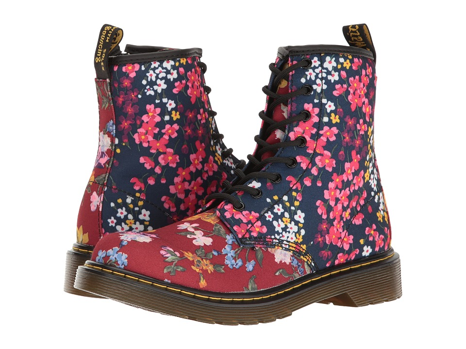 Dr. Martens Kid's Collection - Delaney FC Lace Boot (Big Kid) (Dark Red/Indigo T Canvas) Girls Shoes