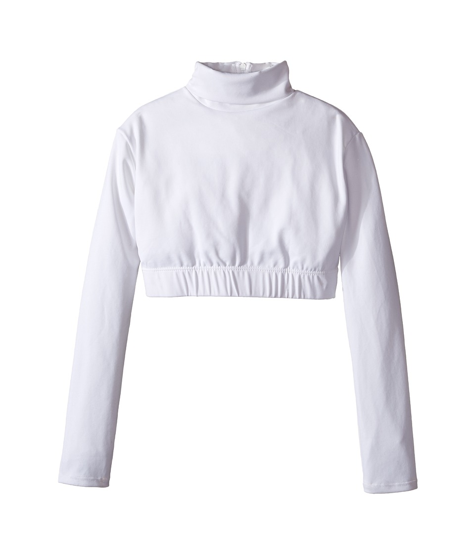 Capezio Kids - Team Basic Turtleneck Long Sleeve Top (Little Kids/Big Kids) (White) Girl's Clothing