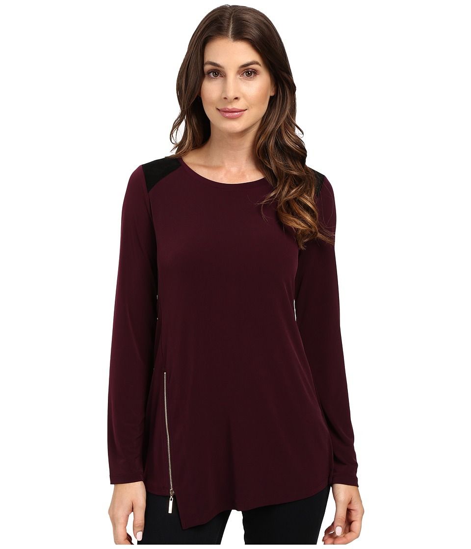 Ivanka Trump - Long Sleeve Matte Jersey with Side Zipper (Malbec/Black) Women's Clothing