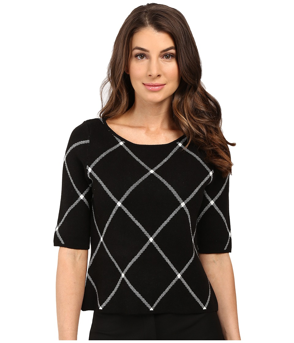 Ivanka Trump - Knit Top (Black/Ivory) Women's Clothing