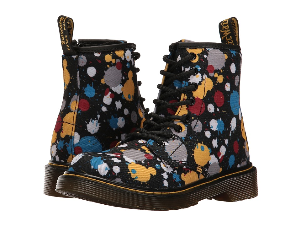Dr. Martens Kid's Collection - Delaney Splat Lace Boot (Little Kid/Big Kid) (Black Splatter T Canvas) Kids Shoes