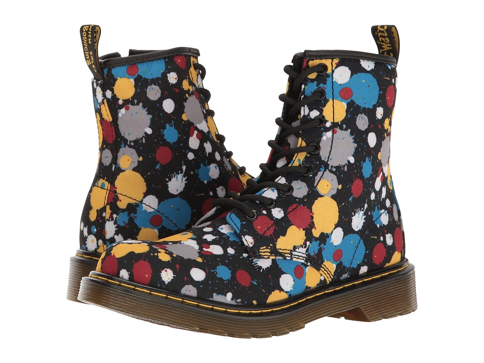 Dr. Martens Kid's Collection - Delaney Splat Lace Boot (Big Kid) (Black Splatter T Canvas) Kids Shoes