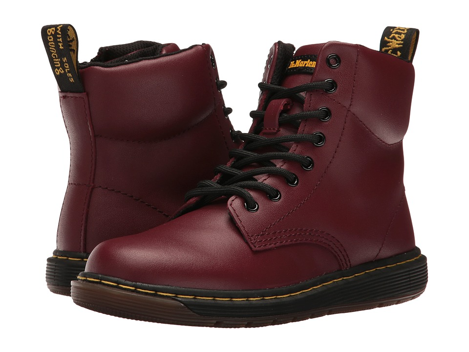 Dr. Martens Kid's Collection - Malky Lace Boot (Little Kid/Big Kid) (Cherry Red Backhand) Kids Shoes