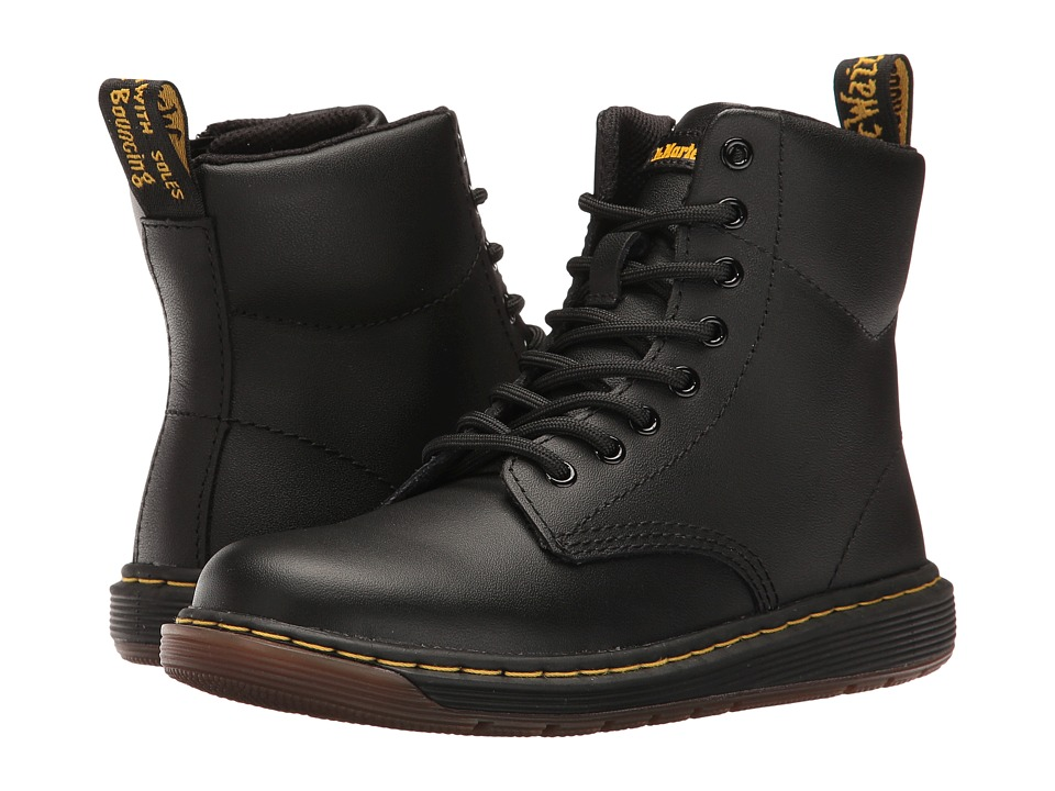 Dr. Martens Kid's Collection - Malky Lace Boot (Little Kid/Big Kid) (Black Backhand) Kids Shoes