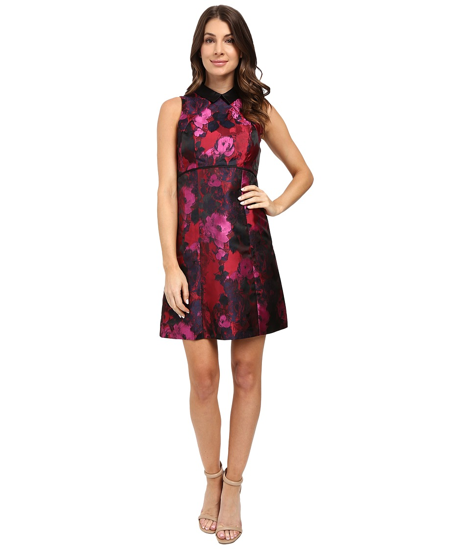 Ivanka Trump - Printed Floral Poly Jacquard (Red/Black) Women's Clothing