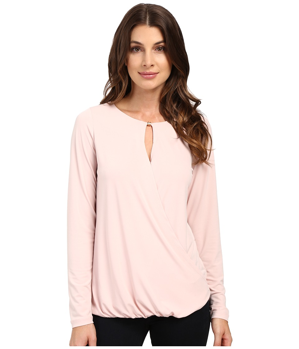 Ivanka Trump - Long Sleeve Beaded Matte Jersey (Blush Pink) Women's Long Sleeve Button Up