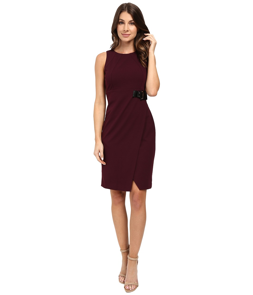 Ivanka Trump - Scuba Crepe Dress with Belt (Malbec) Women's Dress