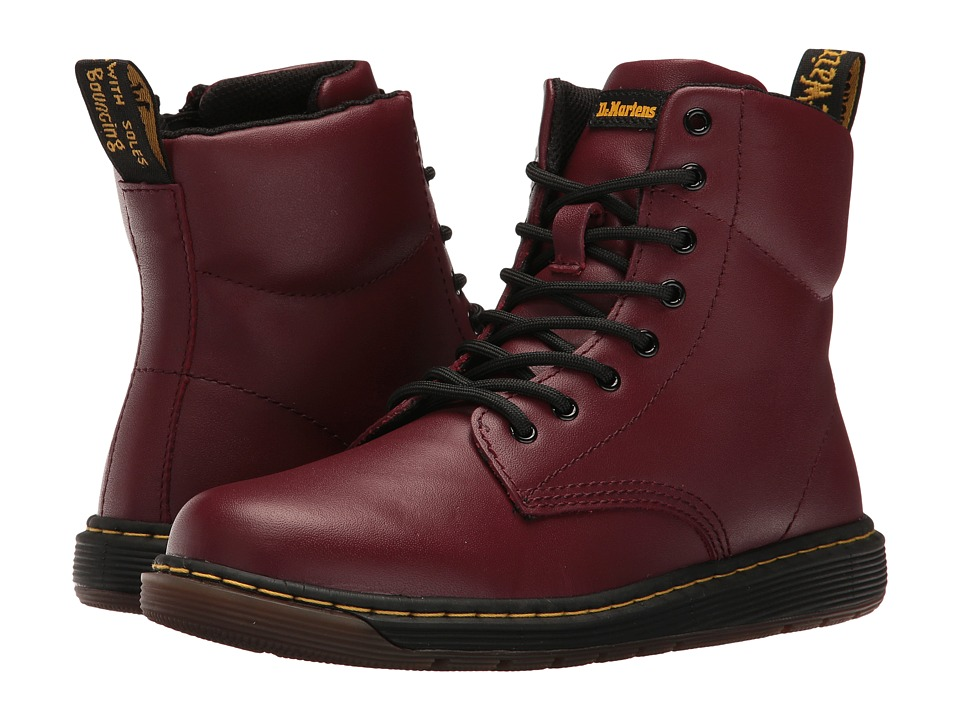 Dr. Martens Kid's Collection - Malky Lace Boot (Big Kid) (Cherry Red Backhand) Kids Shoes