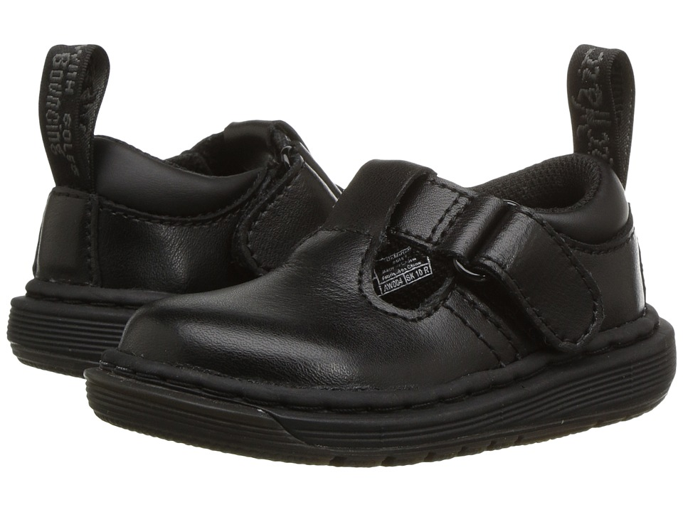 Dr. Martens Kid's Collection - Ryan Plain Toe T-Bar Shoe (Toddler) (Black T Lamper) Kids Shoes