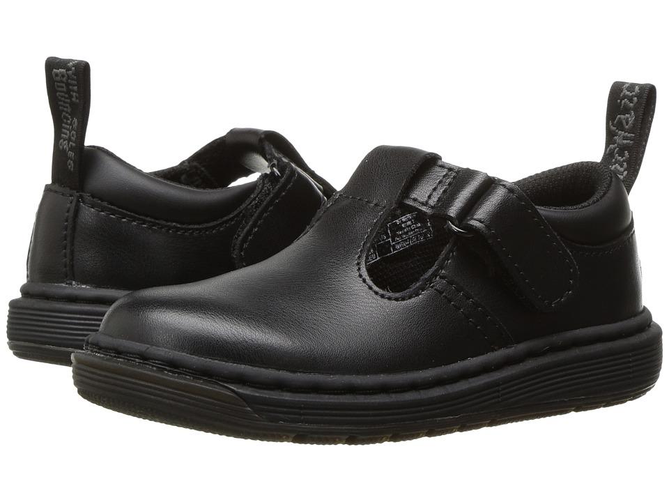 Dr. Martens Kid's Collection - Ryan Plain Toe T-Bar Shoe (Toddler) (Black T Lamper) Kids Shoes
