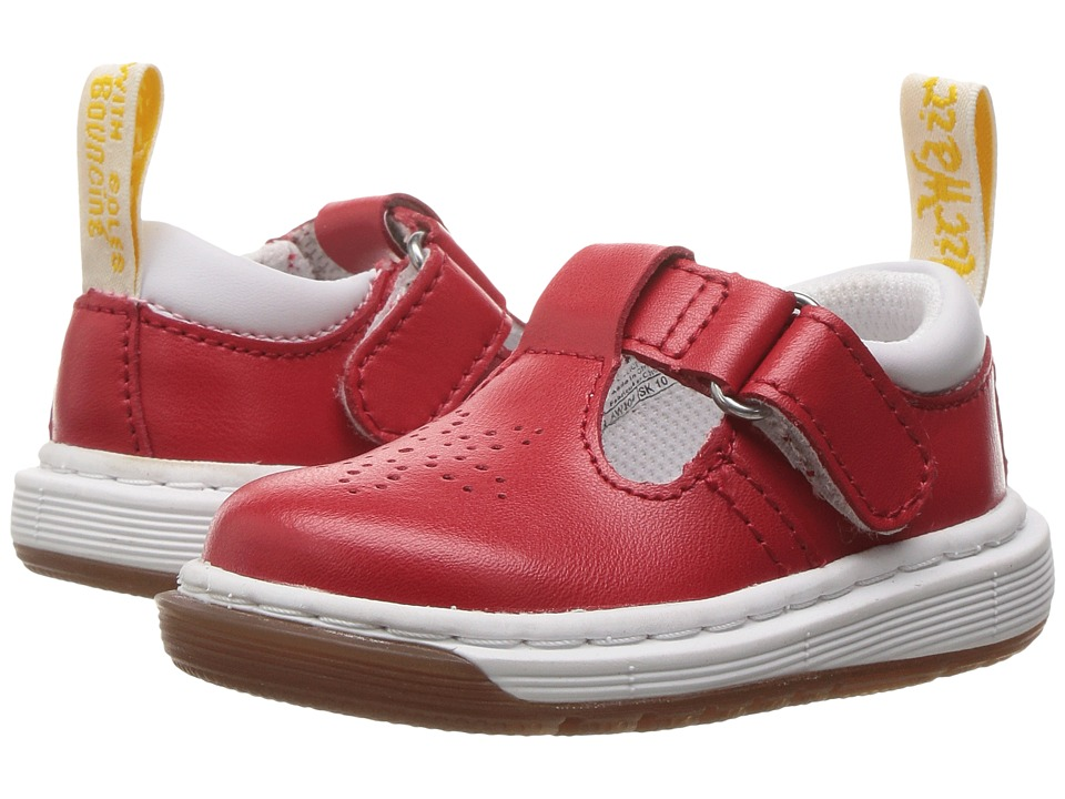 Dr. Martens Kid's Collection - Dulice Punched Toe T-Bar Shoe (Toddler) (Red T Lamper) Girls Shoes