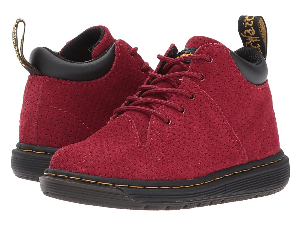 Dr. Martens Kid's Collection - Parker 5-Eye Lace-Up Monkey Bootie (Toddler) (Dark Red Hi Suede Water Perforated) Kids Shoes