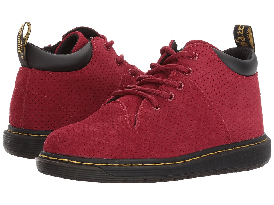 Dr. Martens Kid's Collection - Parker 5-Eye Lace-Up Monkey Bootie (Little Kid/Big Kid) (Dark Red Hi Suede Water Perforated) Kids Shoes