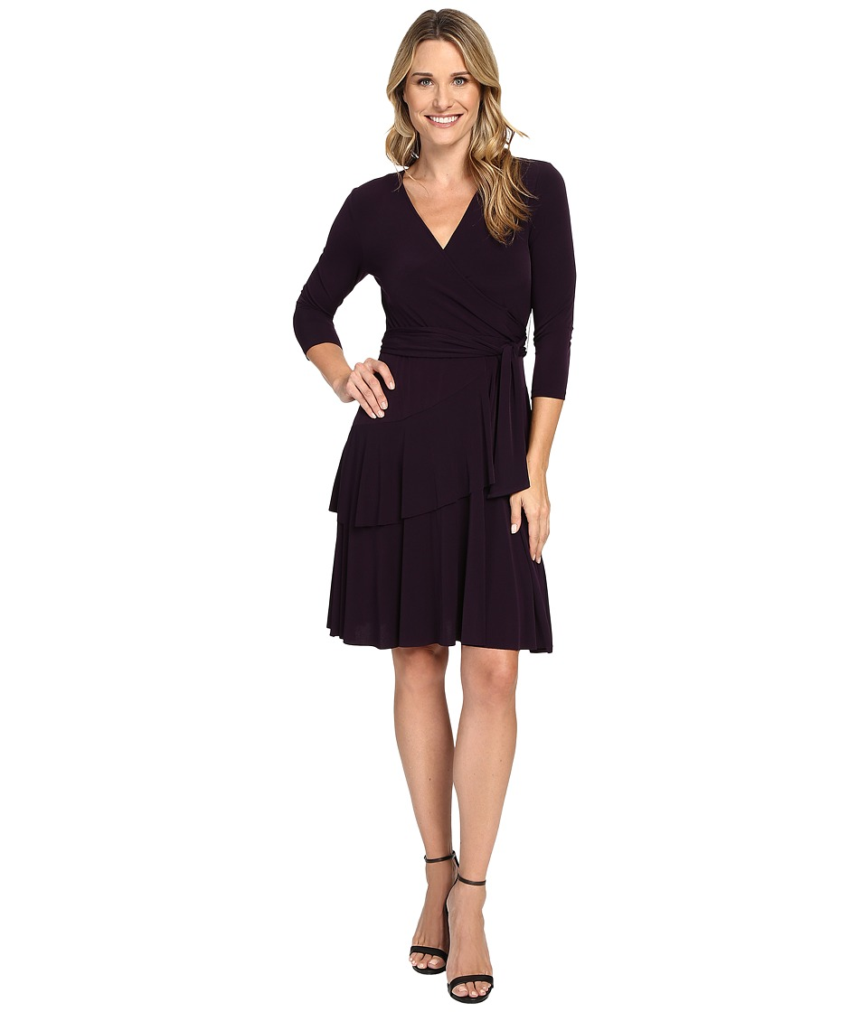 Ivanka Trump - Faux Wrap Matte Jersey Dress (Majestic) Women's Dress