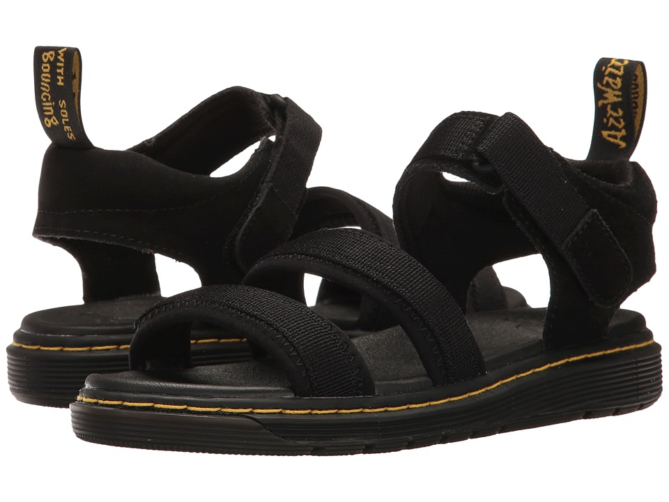 Dr. Martens Kid's Collection - Zachary Tech 3 Strap Sandal (Big Kid) (Black Neoprene/Hi Suede Water Perforated) Kids Shoes