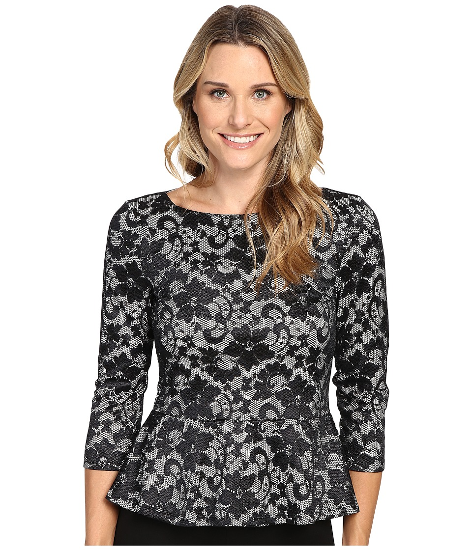 Ivanka Trump - Lace Peplum Blouse (Black/Ivory) Women's Blouse