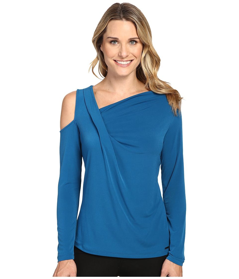 Ivanka Trump - Long Sleeve Matte Jersey with Cold Shoulder (Azure) Women's Clothing