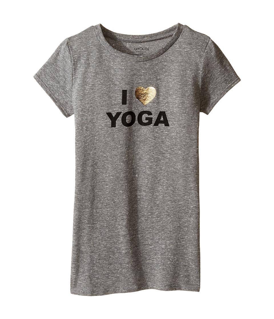 Onzie Kids - Cap Sleeve Top (Little Kids/Big Kids) (Heather Gray Love) Girl's T Shirt