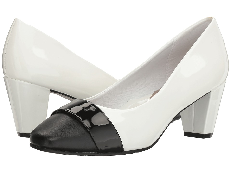 Soft Style - Mabry (White Patent/Black) Women's 1-2 inch heel Shoes