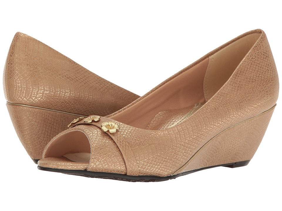 Soft Style - Adley (Taupe Snake) Women's Toe Open Shoes