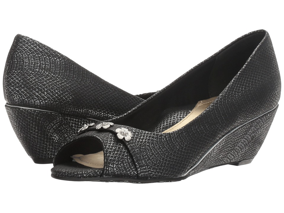 Soft Style - Adley (Black Snake) Women's Toe Open Shoes