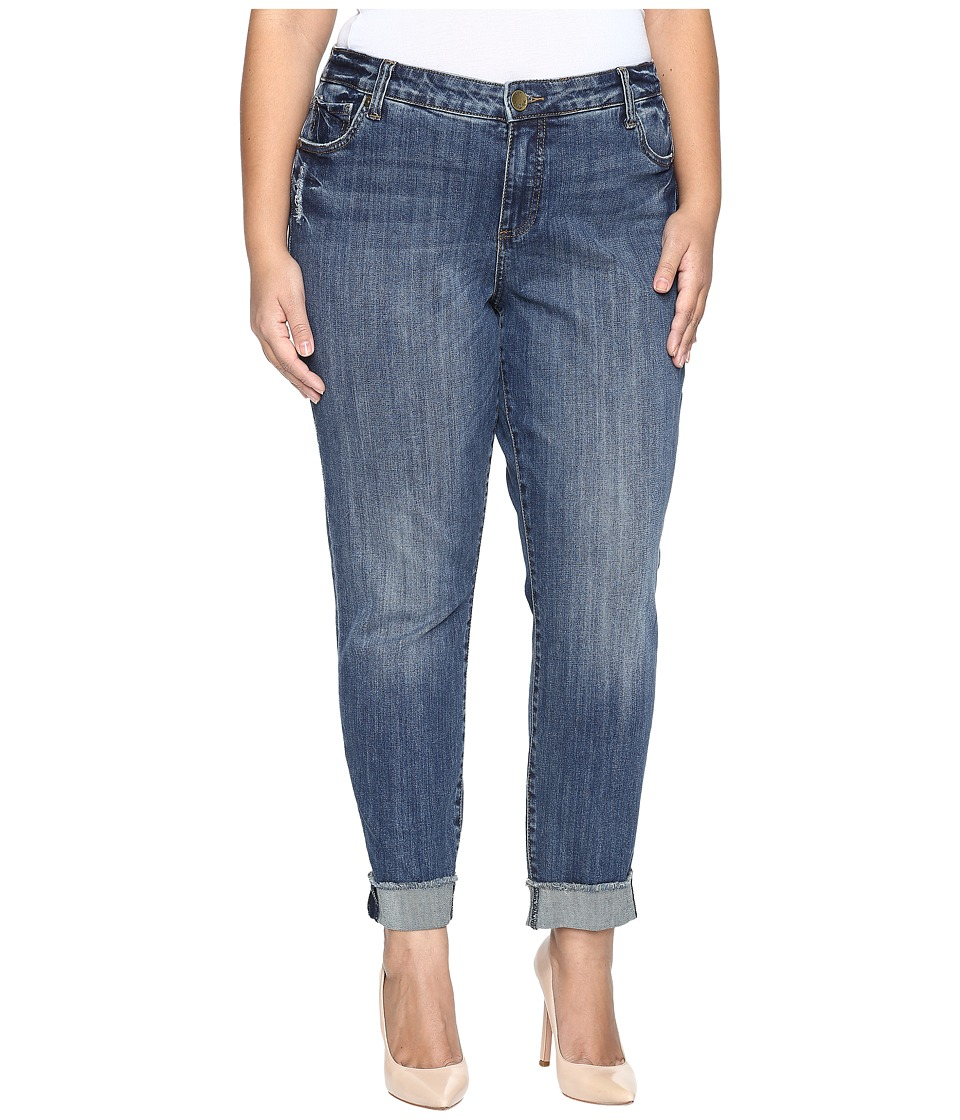 KUT from the Kloth - Plus Size Amy Ankle Straight Leg Roll Up Frey Jeans in Valued (Valued) Women's Jeans