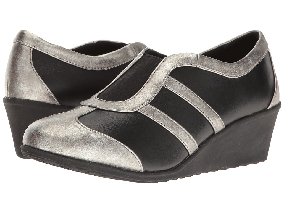 Soft Style - Mallorie (Black/Pewter) Women's Wedge Shoes