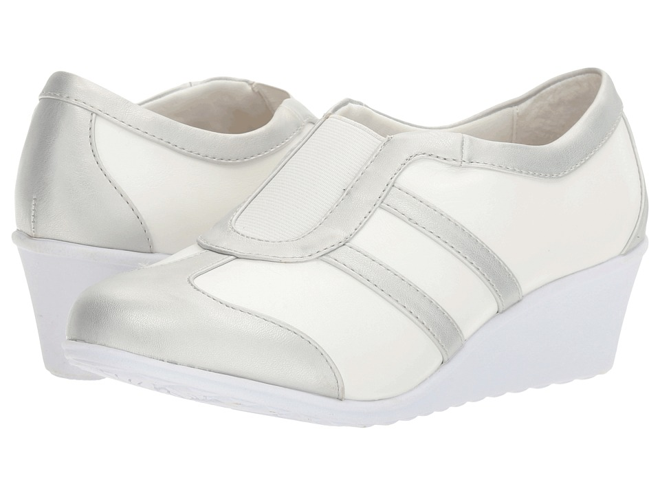 Soft Style - Mallorie (White/Silver) Women's Wedge Shoes