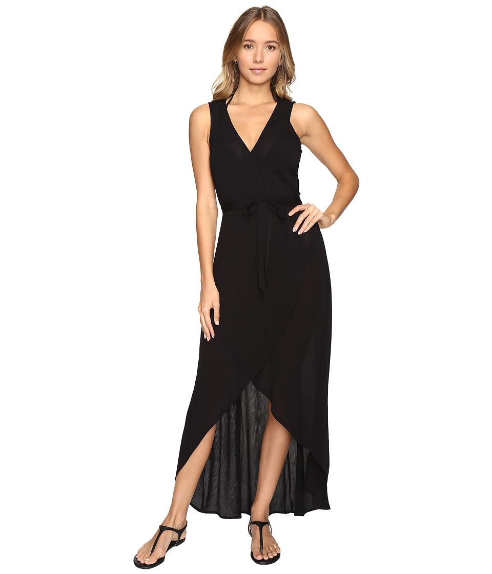 L*Space - Twilight Wrap Dress Cover-Up (Black) Women's Swimwear
