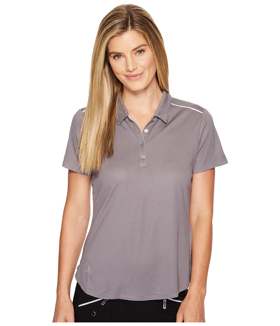 adidas Golf - Microdot Short Sleeve Polo (Trace Grey/White) Women's Short Sleeve Pullover