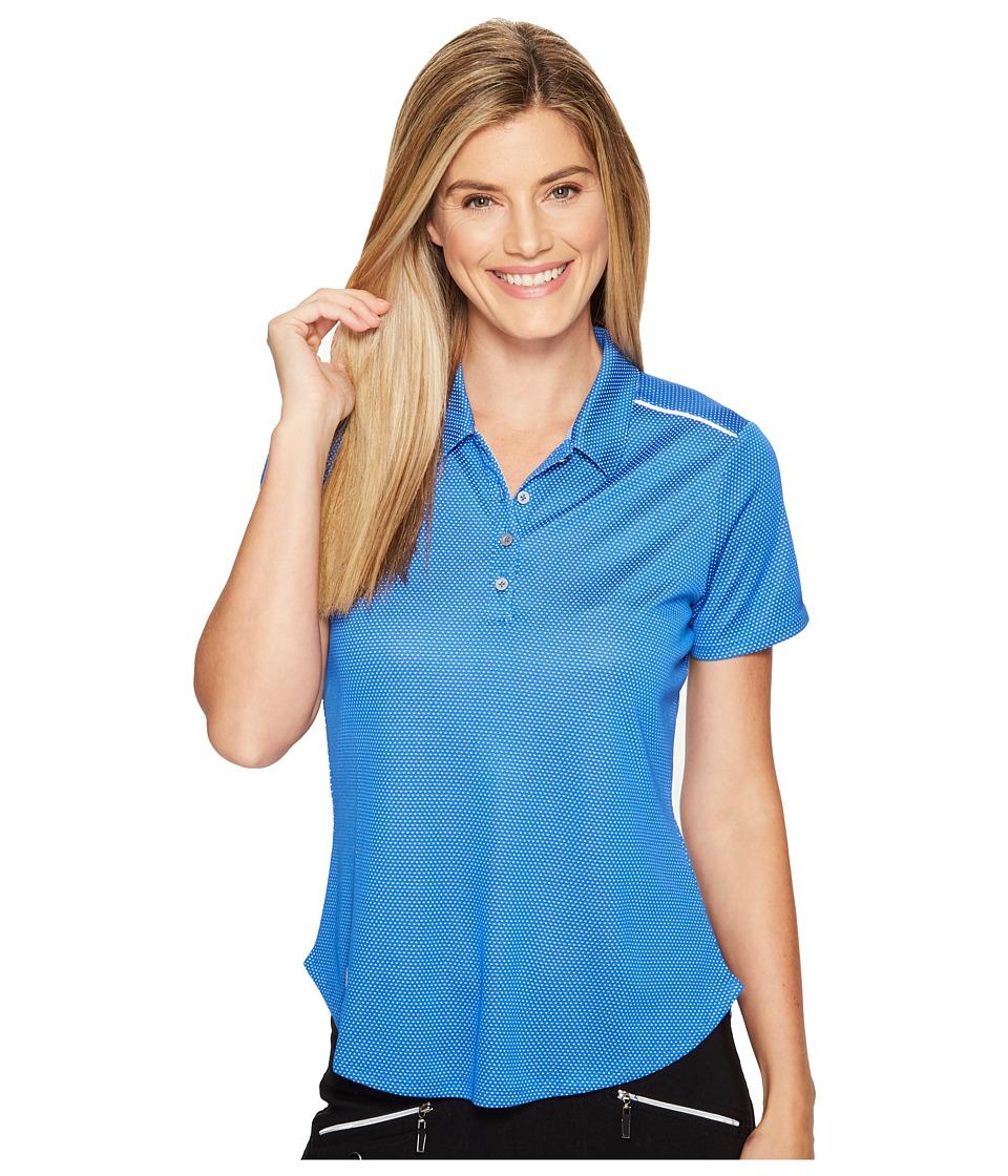 adidas Golf - Microdot Short Sleeve Polo (Blue/White) Women's Short Sleeve Pullover