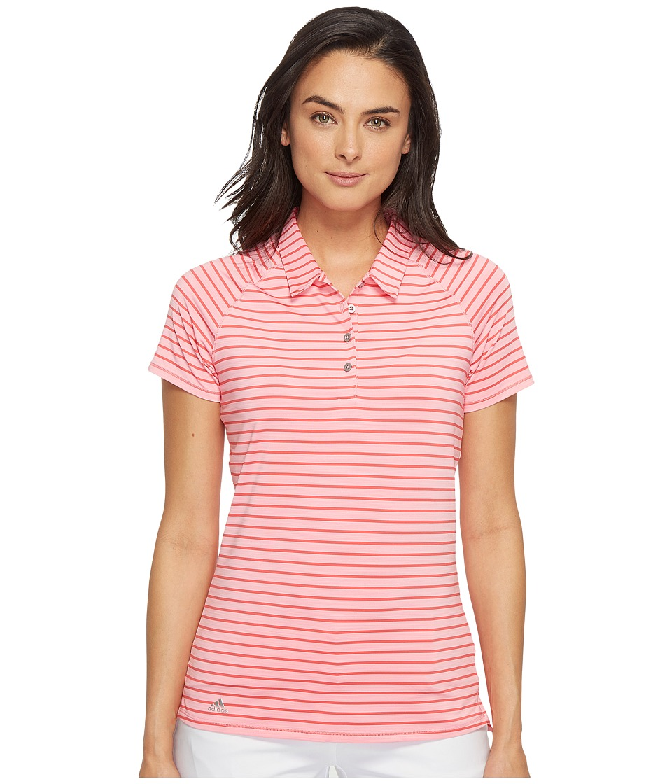 adidas Golf - Double Stripe Short Sleeve Polo (Easy Pink/Core Pink) Women's Short Sleeve Pullover