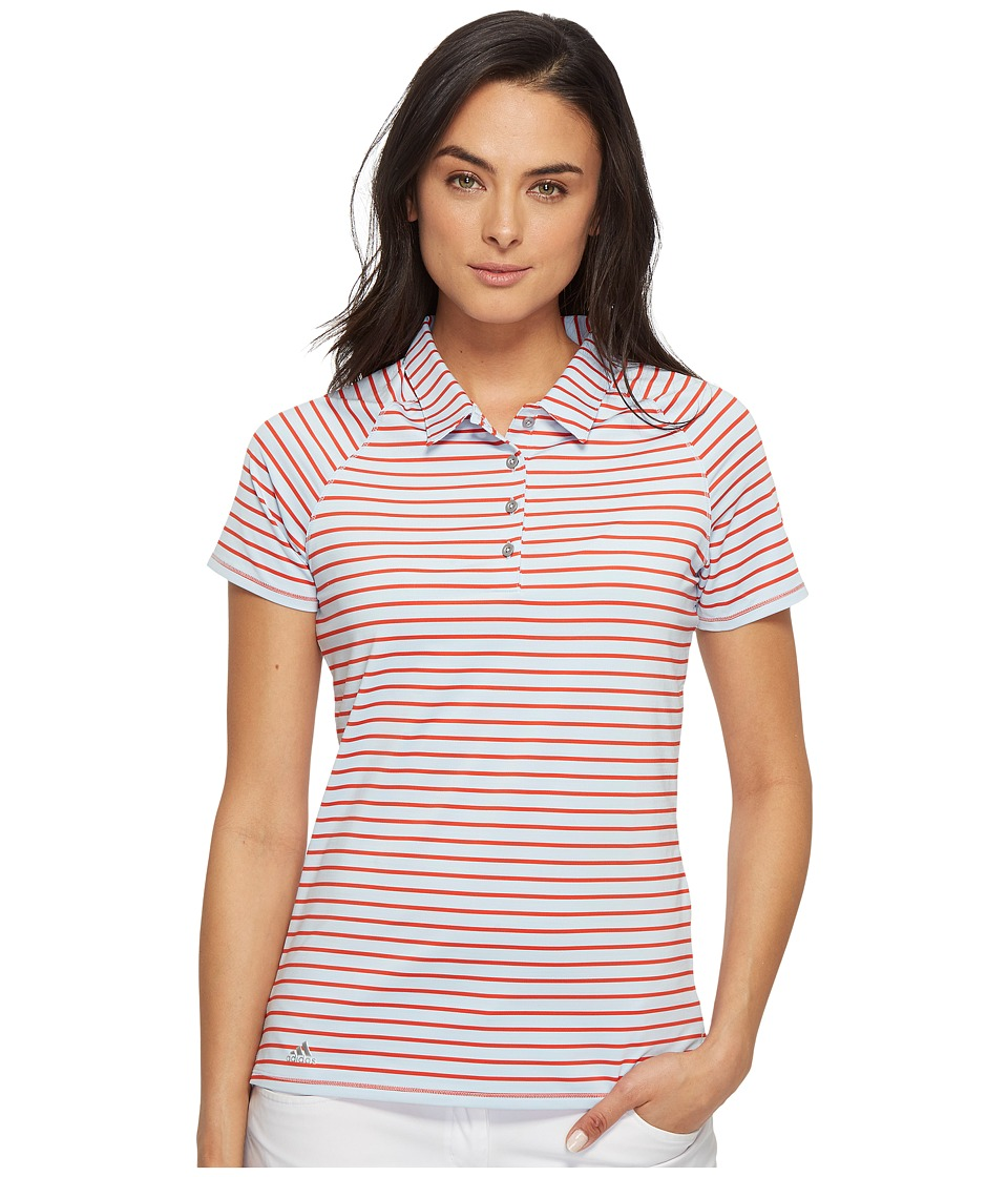 adidas Golf - Double Stripe Short Sleeve Polo (Easy Blue/Core Red) Women's Short Sleeve Pullover
