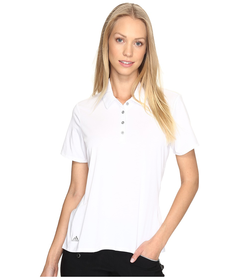 adidas Golf - Essentials Short Sleeve Polo (White) Women's Short Sleeve Pullover