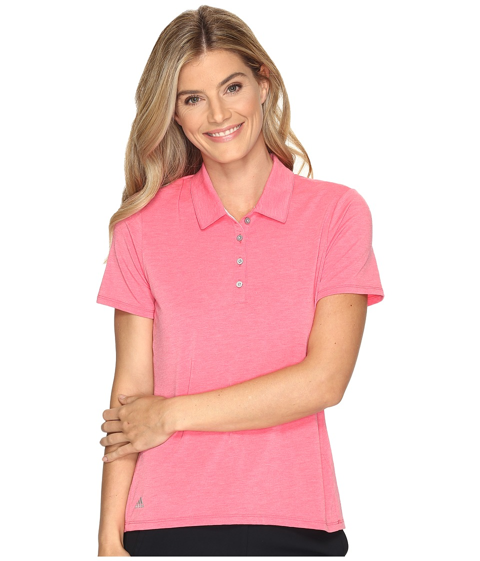 adidas Golf - Essentials Short Sleeve Polo (Core Pink Heather) Women's Short Sleeve Pullover