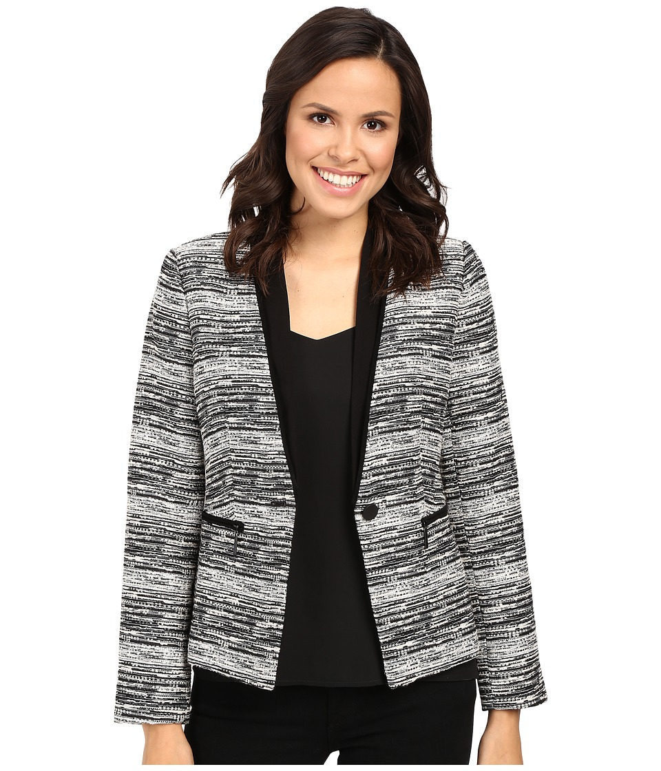 Ivanka Trump - Tweed One-Button Jacket (Black/Ivory) Women's Coat