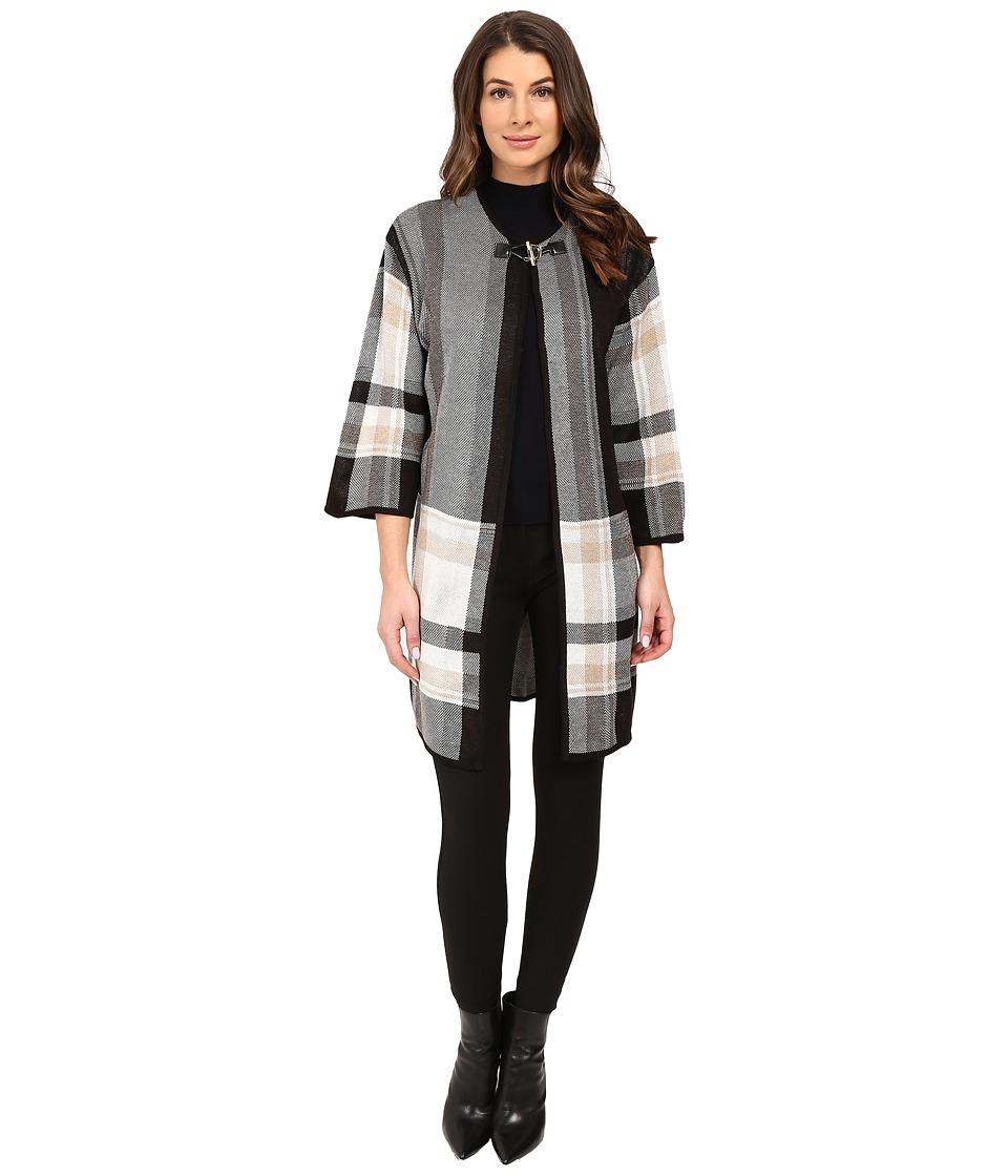 Ivanka Trump - Plaid Sweater Poncho (Black/Heather Oatmeal/Heather Camel) Women's Sweater