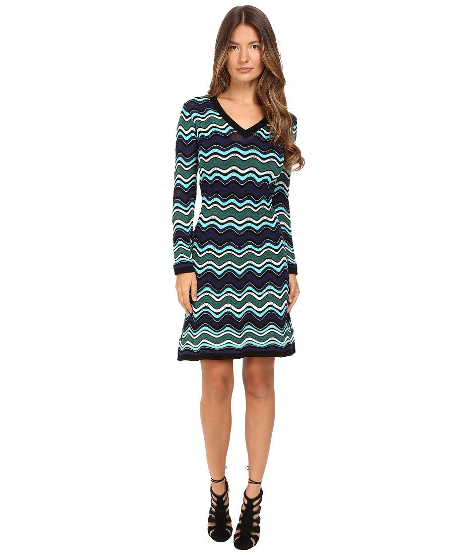 M Missoni Long Sleeve V-Neck Ripple Stitch Dress (Teal) Women