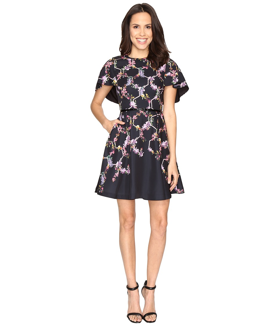 Ted Baker - Vianna Lost Gardens Frill Sleeve Dress (Black) Women's Dress