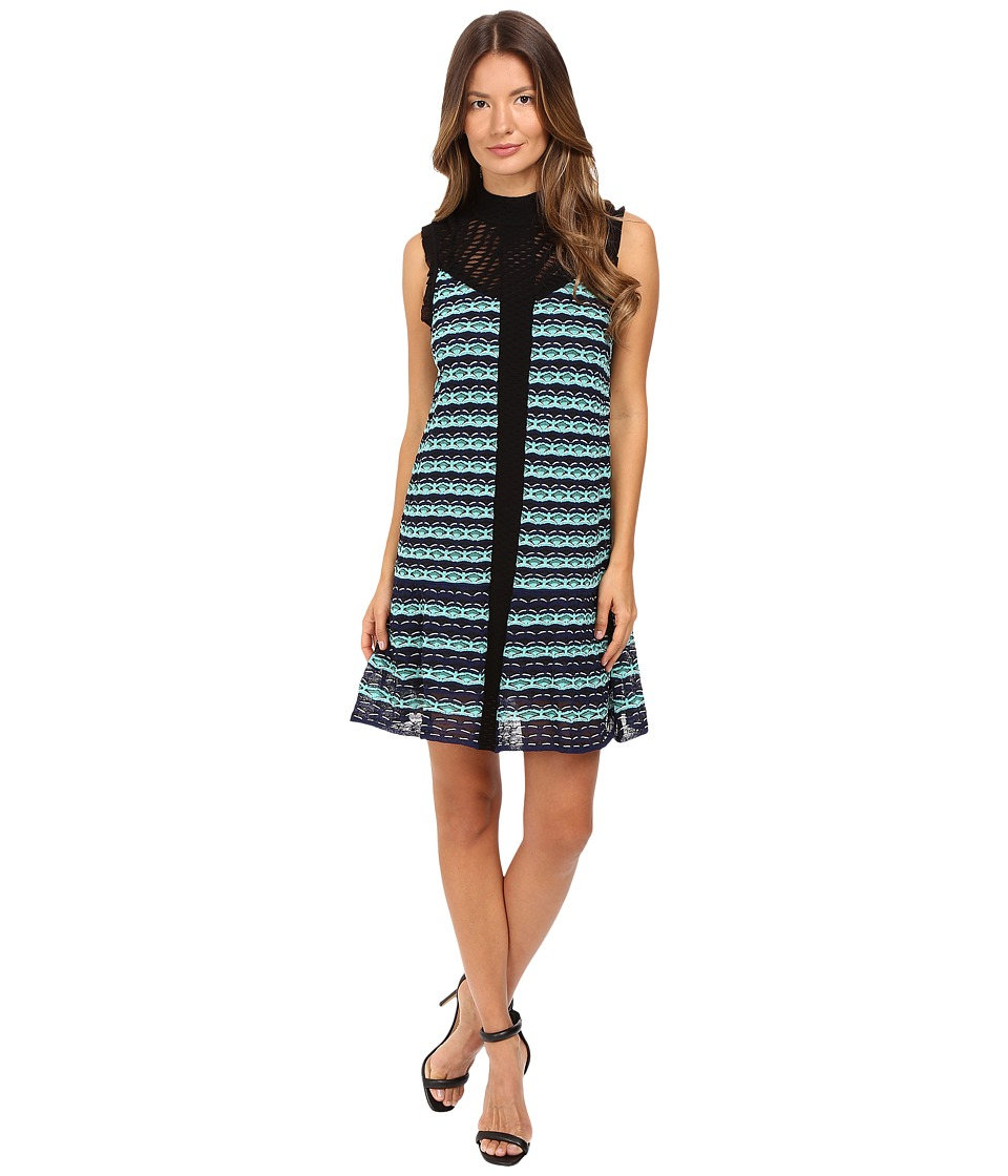 M Missoni Topstitch Knit Sleeveless Dress w/ Drop Waist Ruffle (Navy) Women