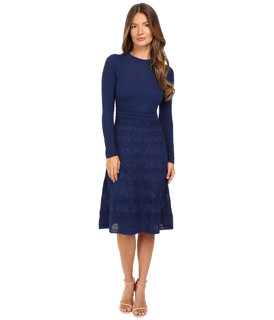 M Missoni - Solid Crew Neck Long Sleeve Mid Length Dress (Navy) Women's Dress