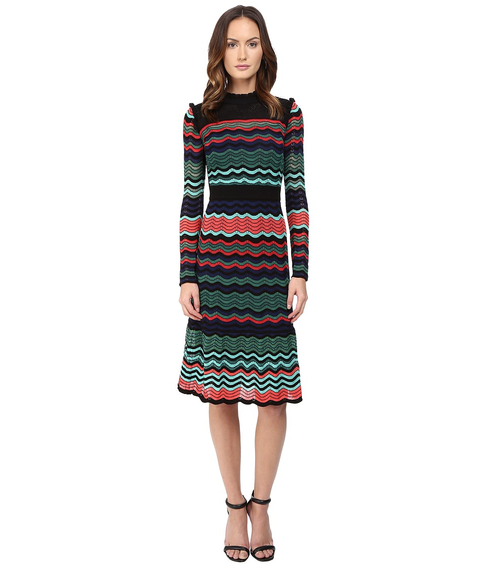M Missoni - Colorful Ripple Stitch Long Sleeve Mid Length Dress w/ Ruffle Collar (Coral) Women's Dress