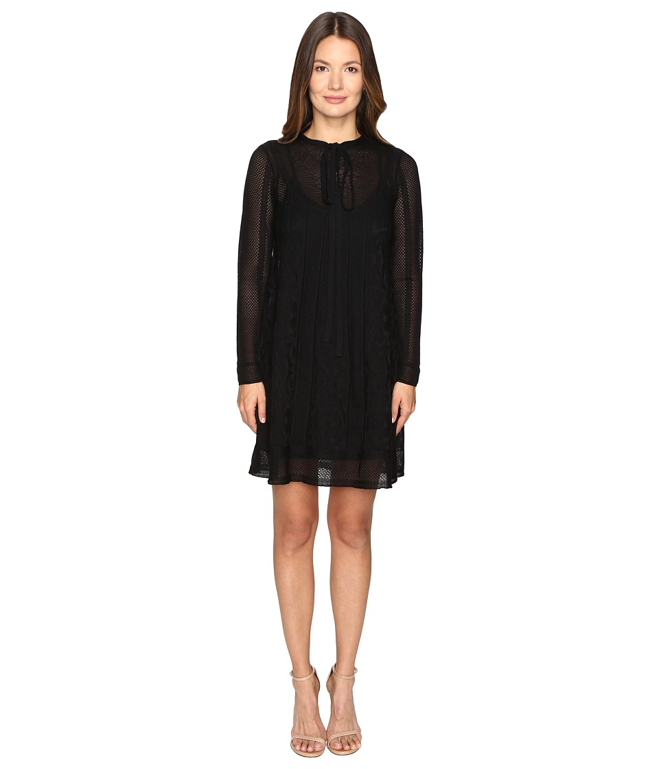 M Missoni - Lace Stripe Long Sleeve A-Line Dress (Black) Women's Dress