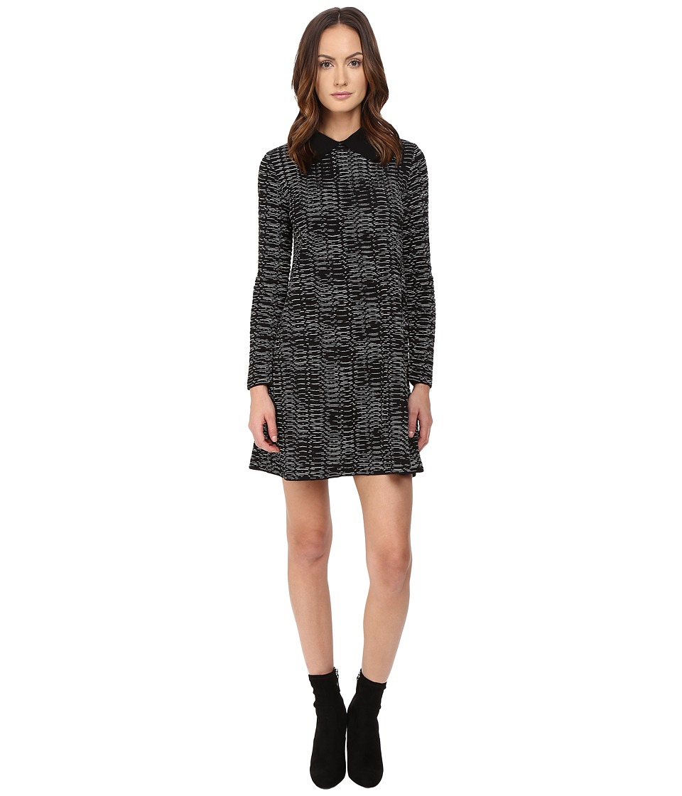 M Missoni Spacedye Long Sleeve Dress w/ Collar (Black) Women