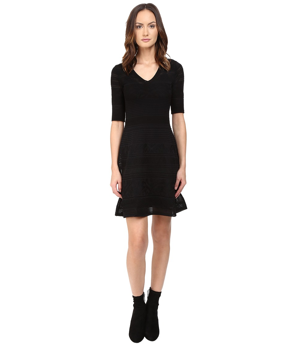 M Missoni Solid Ribstitch V-Neck Short Sleeve Dress (Black) Women