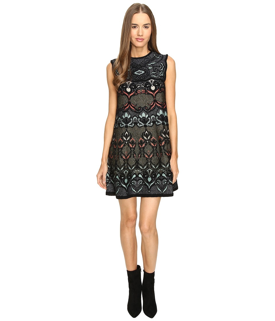 M Missoni Lurex Floral Jaquard A-Line Dress (Black) Women