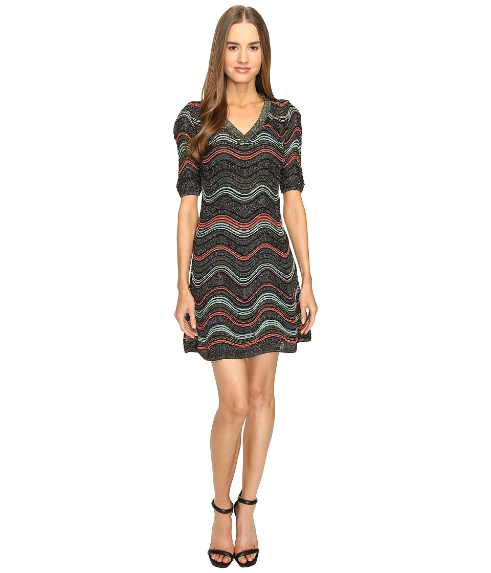 M Missoni Lurex Ripple V-Neck Short Sleeve Dress (Black) Women