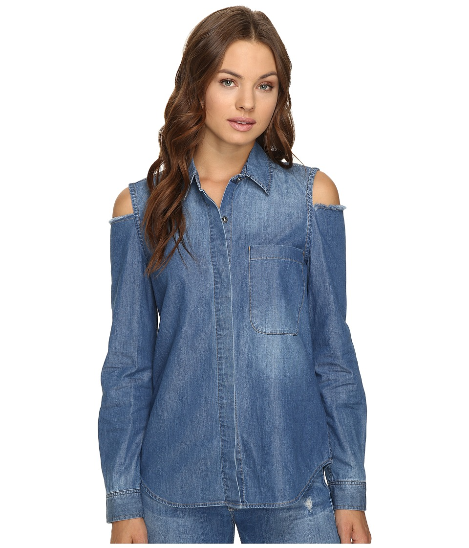 7 For All Mankind - Long Sleeve Cold Shoulder Denim Shirt in Authentic Vista Blue (Authentic Vista Blue) Women's Clothing